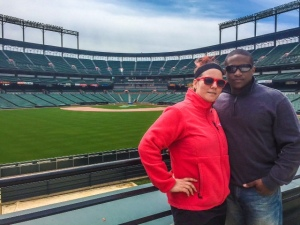Jillian Zahner and Brandon Lilley stand before an empty Camden Yards.