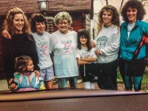 From left: Lisa Filutze with hands on Jillian Zahner; world-class runner Barb Filutze; Donna Mae Filutze; Athletchic owner Jessie Zahner; April Athletchic Erin Filutze Ratke; and Cyndie Zahner in 1994.